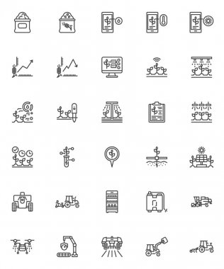 Smart agriculture line icons set. linear style symbols collection, outline signs pack. Smart farming vector graphics. Set includes icons as agriculture innovation technology, farm machinery, harvester icon
