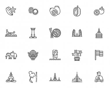 Thai culture line icons set. linear style symbols collection, outline signs pack. Thailand travel vector graphics. Set includes icons as thai massage, buddhist temple, exotic fruits, buddha statue icon