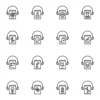 Audiobook line icons set, outline vector symbol collection, linear style pictogram pack. Signs, logo illustration. Set includes icons as education books and headphone, science ebook literature icon