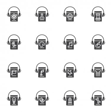 Audiobook vector icons set, modern solid symbol collection, filled style pictogram pack. Signs, logo illustration. Set includes icons as education books and headphone, science ebook literature icon