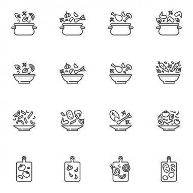Cooking recipes line icons set, outline vector symbol collection, linear style pictogram pack. Signs, logo illustration. Set includes icons as food preparation, vegetable soup plate, saucepan, chicken icon