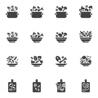 Cooking recipes vector icons set, modern solid symbol collection, filled style pictogram pack. Signs, logo illustration. Set includes icons as food preparation, vegetable soup plate, saucepan, chicken icon