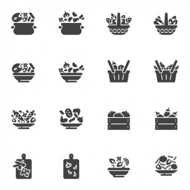 Healthy food vector icons set, modern solid symbol collection, filled style pictogram pack. Signs, logo illustration. Set includes icons as cooking fish soup, vegetable crate box, tomato basket icon