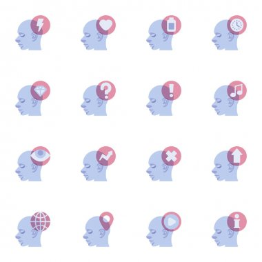 Human mind process elements collection, mental health flat icons set, Colorful symbols pack contains - opportunities, brain thinking, brainstorming. Vector illustration. Flat style design icon