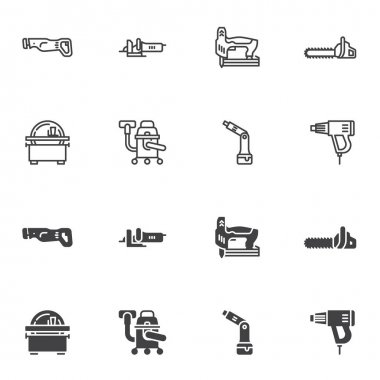 Electric tools icon set, Power tools line and glyph version, outline and filled vector sign. linear and full pictogram. Symbol, logo illustration. Set includes icons as chainsaw, circular saw, grinder icon