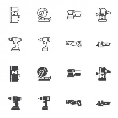 Electric power tools icon set, line and glyph version, outline and filled vector sign. linear and full pictogram. Symbol, logo illustration. Set includes icons as cordless screwdriver, circular saw icon