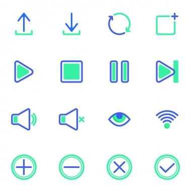 UI, UX line icons set, user interface outline vector symbol collection, linear style pictogram pack. Signs, logo illustration. Set includes icons as download, multimedia play button, silent mode, mute icon