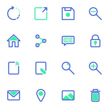 User interface line icons set, UI outline vector symbol collection, linear style pictogram pack. Signs, logo illustration. Set includes icons as share, edit document, image gallery, mail message, lock icon