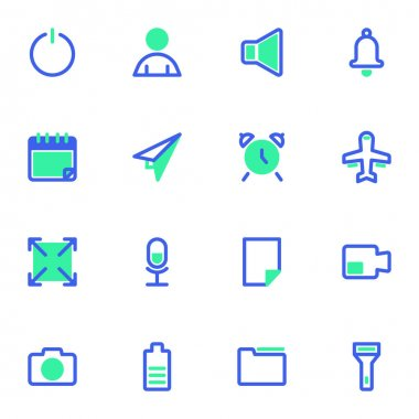 Basic UI line icons set, user interface outline vector symbol collection, linear style pictogram pack. Signs, logo illustration. Set includes icons as calendar, alarm clock, camera, document folder icon