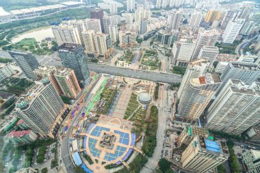 An aerial view of Nanning, Guangxi Province, China