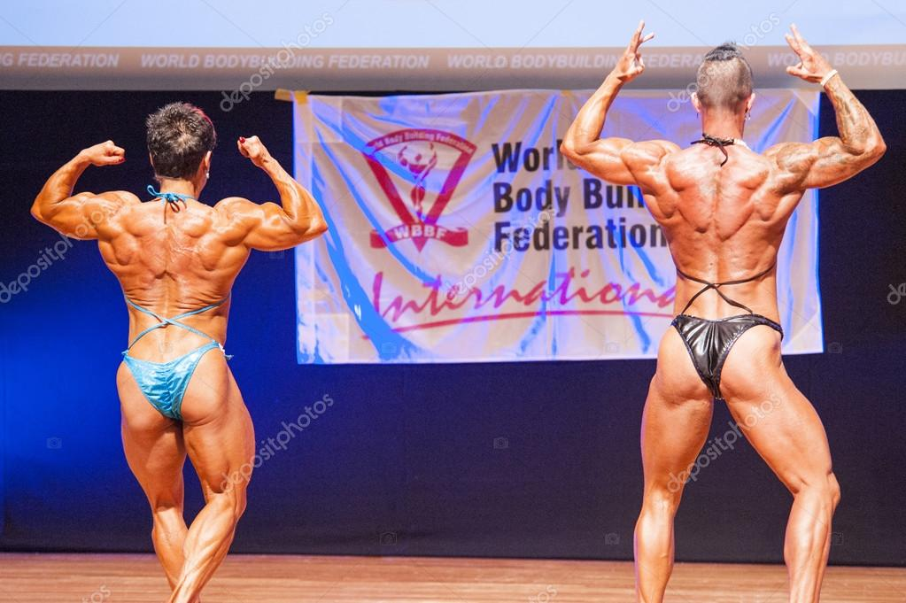 Body builders show their muscles