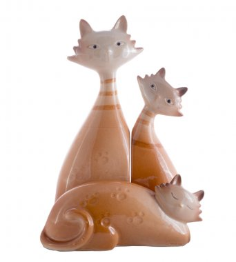 ceramic figurines of the cats isolated on white