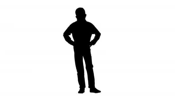 Silhouette Boy wearing protective face mask looking at camera.