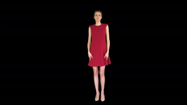 Girl in a red dress, posing, straightens her dress, Alpha Channel