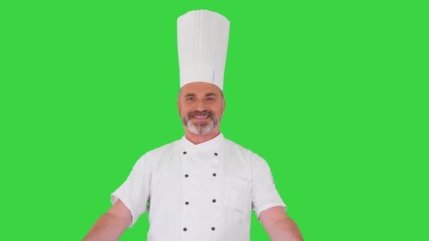 Profesionální kuchař dělá uvítací gesto k fotoaparátu na zelené obrazovce, Chroma Key.