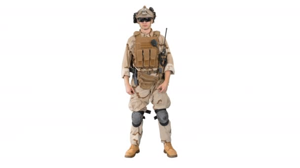 Soldier standing, listening and nodding on white background.