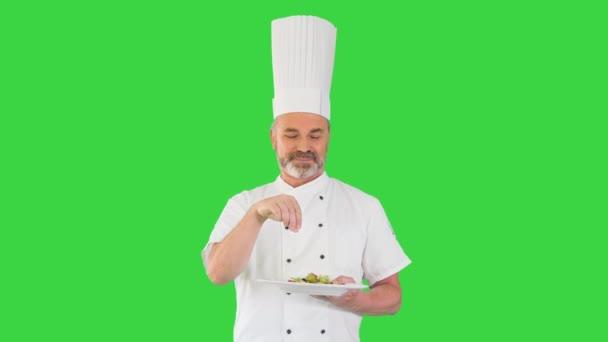 Starý kuchař solení nebo pepřový talíř se zeleninovým salátem na zelené obrazovce, Chroma Key.