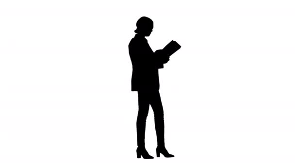 Silhouette Serious Brunette Businesswoman reading documents.
