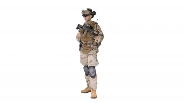 Soldier Standing looking to the side and Listening Orders on white background.