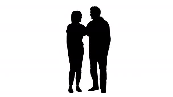 Silhouette Adult granddaughter and elderly 80s grandfather smiling on camera.