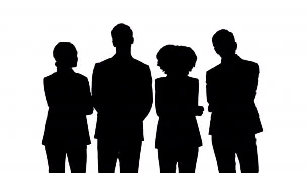 Silhouette A group of business people listening to someone tensely and attentively, considering what they have just heard