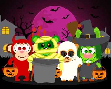 Trick or Treat animals ,vector Halloween background