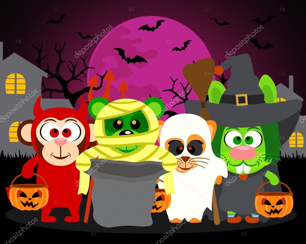 Trick or Treat animals in Halloween costume,vector Halloween background
