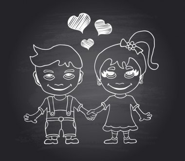 Vector hand draw loving boy and girl on black chalkboard