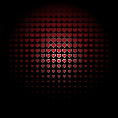 Seamless Bright Abstract radios red hearts background