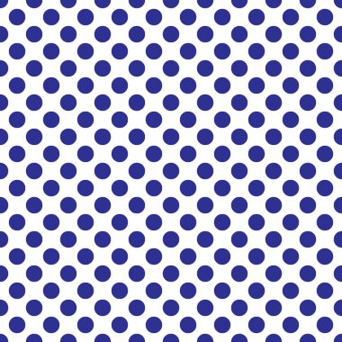 Seamless vector blue polka dots pattern on white background