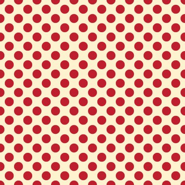 Seamless vector red polka dots pattern on light yellow background