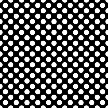 Seamless vector white polka dots pattern on black background