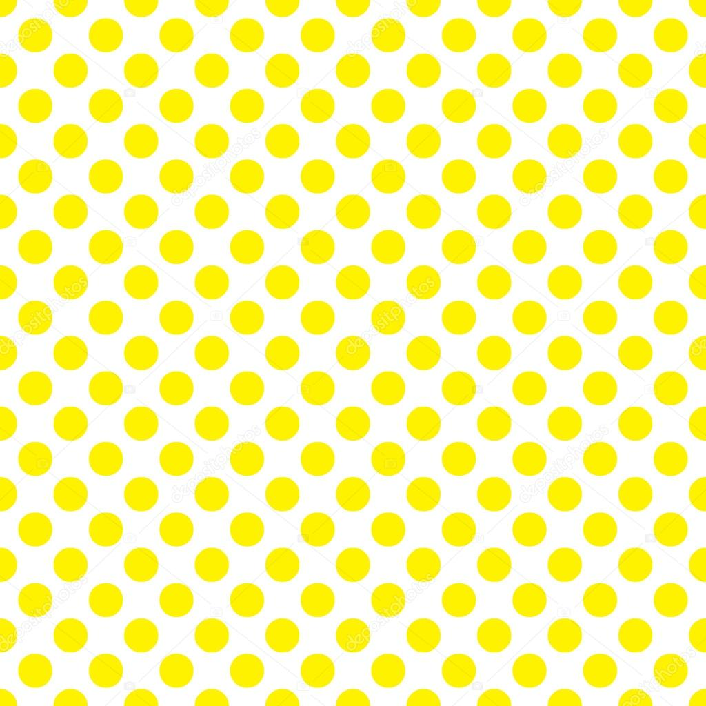 seamless vector yellow polka dots pattern on white background stock vector