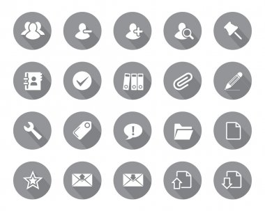 Stock Vector grey rounded web and office icons with shadow in high resolution.
