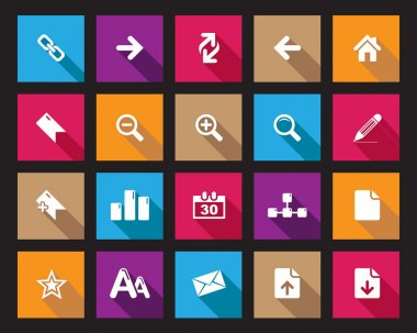 Stock Vector Square shaded web and office icons in high resolution.