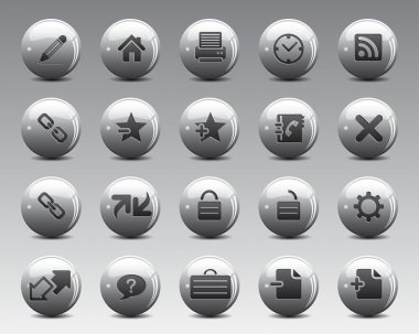 3d grey balls Stock Vector web and office icons in high resolution.