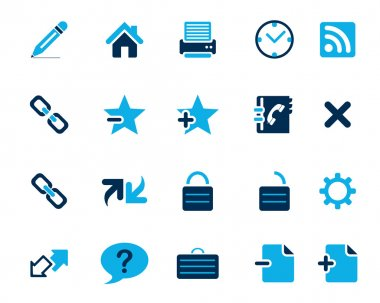 Stock Vector blue web and office icons in high resolution.