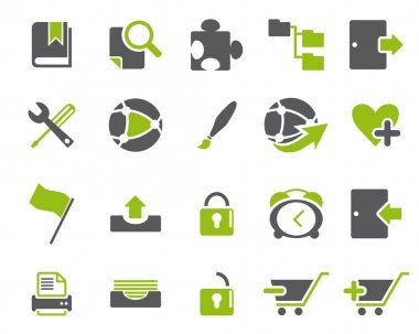 Stock Vector green grey web and office icons in high resolution
