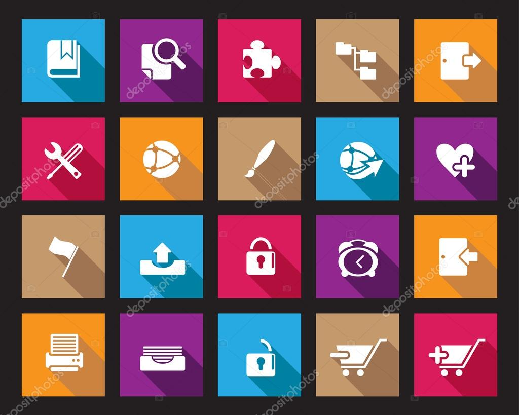 Stock Vector Colourful Square web and office icons with shadow in high resolution