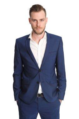 Businessman wearing a blue jacket