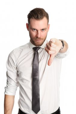 Businessman is thumbs down