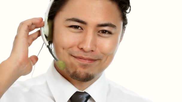 Businessman with headset and laptop