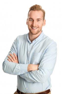 Handsome man in blue shirt smiling