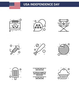 Happy Independence Day 9 Lines Icon Pack for Web and Print baseball; festival; chair; religion; television Editable USA Day Vector Design Elements icon