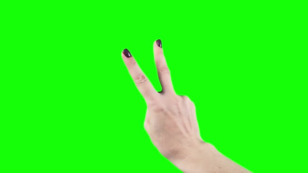Hand showing two thumbs up scissors, victory on greenscreen. Gestures chroma key