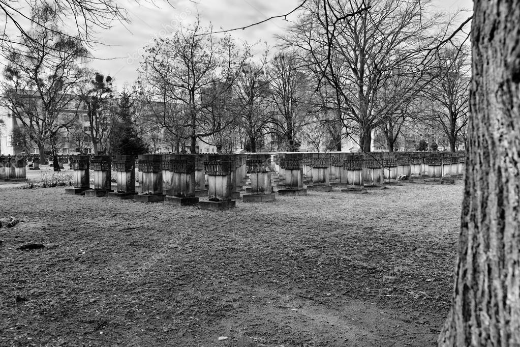 Necropolis Gdansk Zaspa, Poland. Artistic look in black and whit