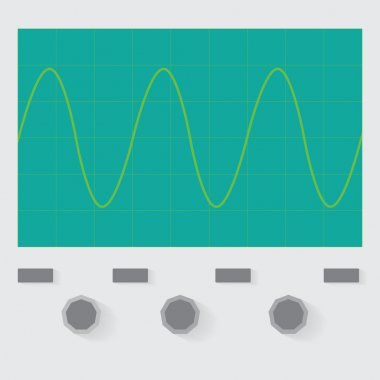 Sine wave oscilloscope with simple design stock vector