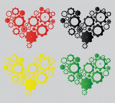 Colorful hearts made from cogs