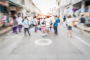 Blurred people on the street in phuket old town