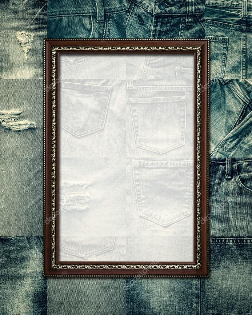 Vintage picture frame on collage jeans — Stock Photo © surasaki ...